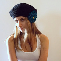Black crochet Hat, Handmade Floppy Berret Hat For Women, Ready to Ship