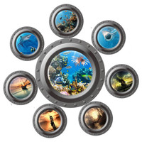 fantastic submarine portholes wall sticker home decorations kids sealife coral shark fish boat scuttles decals mural art nursery