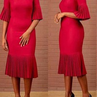 New Red Pleated Bodycon Elegant Church Party Maxi Dress