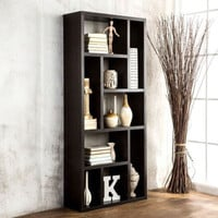 Contemporary 9 Shelves Bookcase Cabinet Cappuccino Finish Home Office Furniture