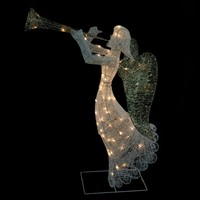 """48"""" Lighted Glittered Trumpeting Angel Christmas Outdoor Decoration"""