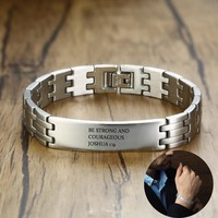 Free Engraving Message Date Initials Name Stainless Steel Men's ID Tag Link Bracelet in Black Silverly Male Jewelry 8 Inches