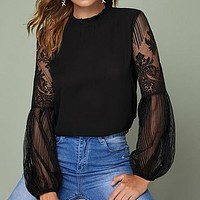 Frilled Neck Lace Sheer Elegant Blouse Top Women Stand Collar Bishop Sleeve Tops And Blouses