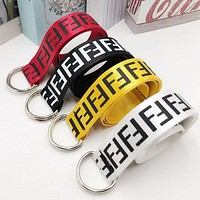 FENDI Hot Sale Women Men Cool Word Print Canvas Belt Waist Belt
