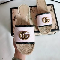 GUCCI Fashion Women Casual Comfortable GG Logo Slipper Sandals Shoes Pink