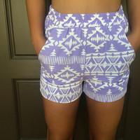 Alina Tribal Print Shorts With Pockets - Lavender