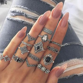 Bohemia Antique Gold Elephant Flower Rose Heart Crown Carved Rings Set Knuckle Finger Midi Ring for Women Jewelry