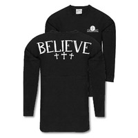 Southern Couture Believe Faith Jersey Pullover Oversized Long Sleeve T-Shirt