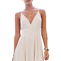 White Deep V-Neck Sleeveless Skater Dress