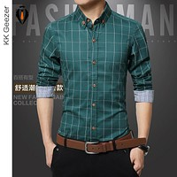 Men Grid Shirt Cotton Casual Long Sleeved Plaid Dress Shirt Fashion Pocket Male Shirt Formal Work  Business Slim Fit