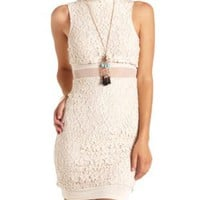 Mock Neck Mesh-Lined Lace Bodycon Dress by Charlotte Russe - White