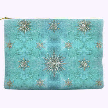 Holiday Cosmetic Bag with sparkly snowflakes on teal watercolor