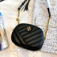 Tory Burch 2019 new female tassel camera bag chain shoulder bag Messenger bag black