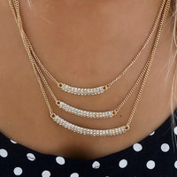 Studs & Things Three Layer Diamond Stud Gold Bar Necklace