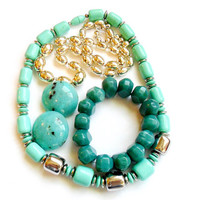 Vintage Silver Turquoise Jewelry Lot - Acrylic Plastic Lucite - Necklace Bracelet Earrings - Wear Repurpose Resell - Faux Turquoise