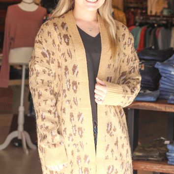 {Camel} Tonal Leopard Long Knit Cardigan