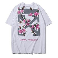 OFF White Classic Women Men Casual Cherry Blossom Spider Bee Print Short Sleeve T-Shirt Top Blouse White