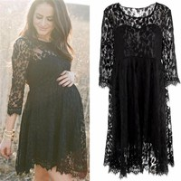 Free Size Maternity Dresses Summer Fashion Pregnancy Maternity Solid Lace Dress For Photography Props Maternity Clothes JY04#F