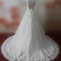 Real Pictures Lace Wedding Dresses Chapel Train Backless Bridal Gowns Plus Size Wedding Gown