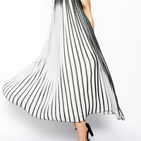 Black and White Spaghetti Strap Vertical Stripe Maxi Dress