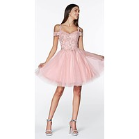 Short Homecoming Dress Blush Off The Shoulder Lace Detail Glitter Tulle Skirt