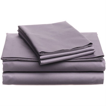 Full Size 400-Thread Count Egyptian Cotton Sheet Set in Plum Purple