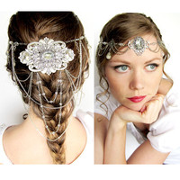 Elven Bride Circlet in Silver and Crystal Clear