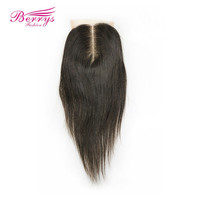 Berrys Hair Products Top quality  Lace Closure Brazilian virgin straight hair,8-20inches 4*4inches Natural color Hair Weave