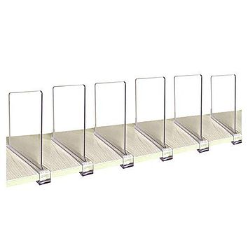 CY craft Acrylic Shelf Divider, Wood Shelf Dividers,Clear Closet Shelf Separators Clothing Organizer Perfect for Bedroom Shelving Organization and Kitchen Cabinet Shelf Storage,6 PCS Pack of 6