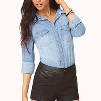 Quilted Paisley Faux Leather Shorts