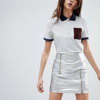 Cubic Demi Short Sleeved Polo Shirt in Glitter Threads at asos.com