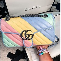 GUCCI Fashion Leather Chain Crossbody Shoulder Bag Satchel