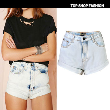 Sexy Women Girl Summer High Waist Ripped Hole Wash Denim Jeans Shorts Pants = 4721834820
