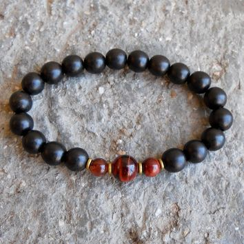 Strength and Prosperity, Ebony and Red Tiger Eye Mala Bracelet