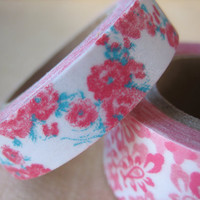 Washi Tape - Double Roll - Pink Roses with Turquoise and Pink Print