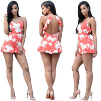 Orange Floral Rompers with Ruffle Details