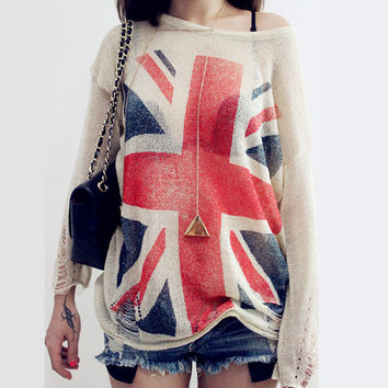 New Arrival UK Flag Sweaters Mujer 2016 Holes Ripped knitted Pullover Sweater Jumper Long Sleeve One Size Tops Women Sweaters