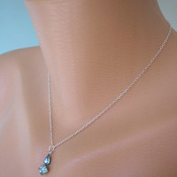 Delicate Pendant, Minimalist Jewelry, Turquoise Rhinestone Necklace, Sterling Silver Chain, Upcycled Jewelry, Teal Pendant, Gift For Woman