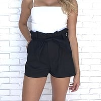 Keep In Touch Black Waist Tie Shorts