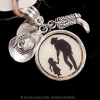 Country Daddy and Daughter Silhouette Pendant