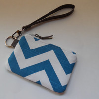 Small Wristlet Wallet, Credit Card Holder, Gift Card Wallet, Coin Purse, Bridesmaid Gift, Teal Chevron, Faux Leather Strap, Ready to Ship