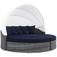 Summon Canopy Outdoor Patio Sunbrella® Daybed Canvas Navy EEI-1997-GRY-NAV-SET