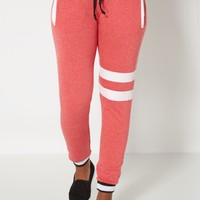 Red Double Striped Fleece Jogger | Printed Joggers | rue21