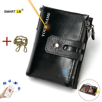 Smart Wallet GPS Record Bluetooth Free engraving Gift Coin Purse Chain Wallet Genuine Leather Card Holders Men Ziper Wallets