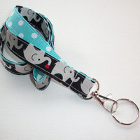 Lanyard  ID Badge Holder - Lobster clasp and key ring - design your own - gray elephants on black polka dots aqua - two toned double sided
