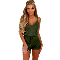 Playsuits Womens Casual Sling Ladies  Beach Fitness Rompers Jumpsuits Women Combishort Femme Ete #23 BL
