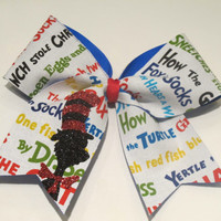 """2 1/4"""" Dr Suess Cheer Bow"""