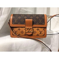 LV Hot Selling Fashion Skew Pack Fashion White Peach Texture Single Shoulder Pack Brown+Coffee