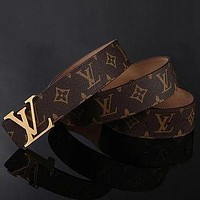 Louis Vuitton LV Woman Men Fashion Smooth Buckle Belt Leather Belt Skin Belt