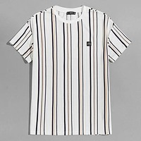 Fashion Casual Men Patched Detail Striped Tee